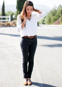Black Jeans White button up top blouse with brown lace up ballet flats classic chic outfit from Moo's Musing