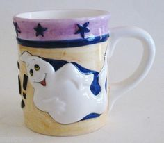 Halloween BOO! Ghosts 22 oz Coffee Mug cup Ceramic HUGE