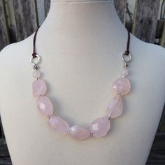 Chunky Rose Quartz and Sterling Silver Necklace, adjustable by EastVillageJewelry on Etsy
