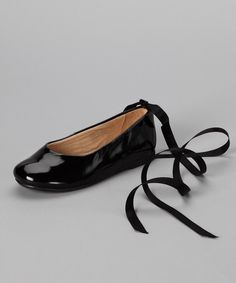 Look at this Pazitos Black Swan Ribbon-Tie Leather Flat on #zulily today!