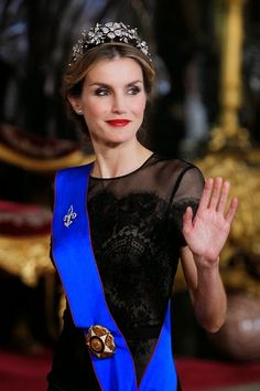 Queen Letizia of Spain receives Chilean President Michelle Bachelet for a Gala dinner at the Royal Palace on 29.10.2014 in Madrid, Spain.