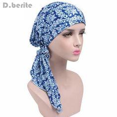 8903b93569e Ladies Bandana Women Head Cap Scarf Turban Pre-Tied Headwear Chemo Knitted  Cotton Hat Tichel