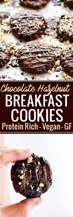 Vegan Chocolate Hazelnut Breakfast Protein Cookies made with just a few simple Ingredients! These protein cookies are packed with real food nourishment! Hazelnuts, banana, plant protein, and dark chocolate. Vegan, flourless, and tastes like dessert. A chocolate protein cookie you're totally allowed to eat for breakfast. #onenewGNC www.cottercrunch.com