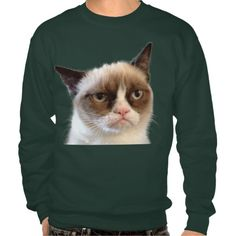 Official #GrumpyCat™ men's #customizable basic #sweatshirt. Add your own text! Color: deep forest. Price: $38.95 For more Grumpy Cat stuff, gifts, and meme visit www.pinterest.com/erikakaisersot