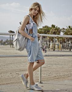 "Venice Beach vibes with Kenya Kinski-Jones in the ""Megan"" dungaree + fleece backpack from the #mycalvins Denim Series."