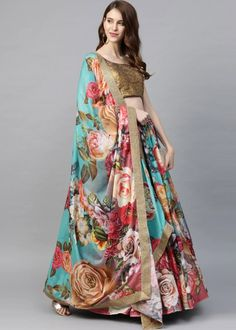 #multicolor #floral #digital #printed #organza #lehenga #choli #designs # traditional #indian #outfits #gorgeous #wedding #look #ootd #new #arrival #womenswear #online #shopping Choli Designs, Lehenga Designs, Bridal Lehenga, Lehenga Choli, Salwar Kameez, Kurti, Lehenga Collection, Fancy Party, Party Wear