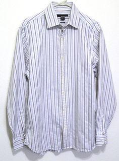 Men's Michael Kors Shirt Classic Fit Size Large Button Down Striped Long Sleeves #MichaelKors #ButtonFront