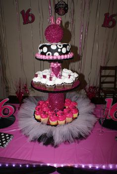 Cupcake tower for Sweet Sixteen