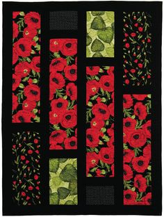 Poppies fabric collection by Chong-a Hwang for Timeless Treasures. Showcased in the Oh Henry quilt pattern by Creative Sewlutions.