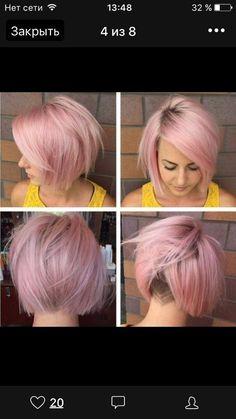 короткие стрижки, выбритый затылок, розовые волосы
