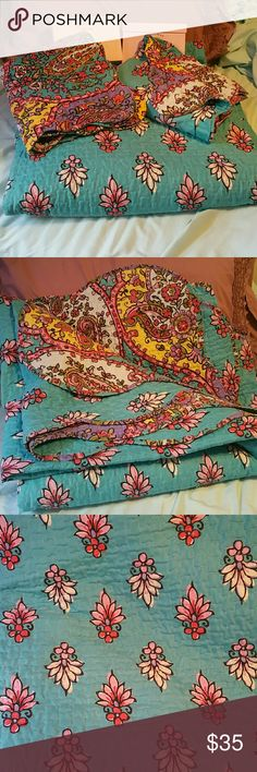 Queen Boho blanket comforter with shams I enjoyed this pretty gem now it's time to pass it on! I use this in the summer, as it is thinner. Shades of pink,purple, teal, blue, red & white. No rips or stains, although gently used & a teensy bit faded which adds to the Boho vibe. It comes with two matching shams & is reversible. It is 100% polyester & machine washable. Make me an offer! No trades. Other