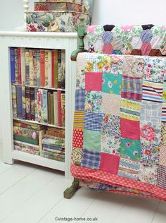 A Collection of Vintage Books and Old Patchwork Quilts displayed on the Landing of our Cottage: www.vintage-home.co.uk