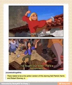 YES PLEASE!!! A real-life version of Road to El Dorado starring Neil Patrick Harris and Robert Downey Jr!