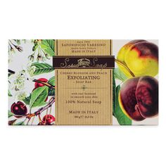 Cherry Blossom + Peach Exfoliating Soap by SAPONIFICIO VARESINO - Add a little Italian luxury to your day with Saponificio Varesino's Cherry Blossom + Peach Exfoliating Soap. A 100% vegetable soap that creates a rich lather and exfoliates your skin with seaweed.     Scented with a fresh blend of Cherry Blossoms and Peach, this oversized soap bar is 10.5 ounces (300 g). Made in Italy.