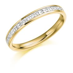 Channel Set Carre Cut Diamond Half Eternity Ring 0.50ct
