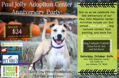 Join us this Saturday at our location on Tuleta by the zoo for our anniversary party! Adoption specials, raffle prizes, and lots of fun!