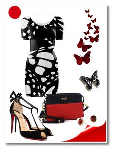 Winged Dress by fallforit on Polyvore featuring polyvore fashion style Christian Louboutin Prada David Yurman clothing dress blackandwhite butterfly bodycon Monarch