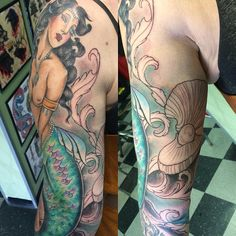 Added a pretty clamshell and some background to Weston's sleeve. Mermaid is healed! Thanks girl! ✨ #mermaidlife #tattoo #tattoos #mermaidtattoo #tattoosnob #tattooartistmag #artnouveau #filagree #drawnon #clamshell #girlswithtattoos #ladytattooers #losangeles #yercheatnheart