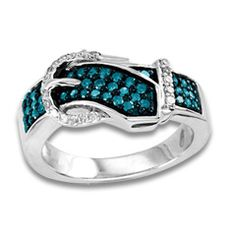 Zales 1/4 CT. T.w. Enhanced Blue and White Diamond Buckle Ring in Sterling Silver rLOpHh