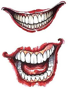 Halloween Makeup Ideas > Set of 2 Waterproof Temporary Fake Tattoo Stickers Cool Sexy Horror Joker Face Halloween Joker Mouth Tattoo, Clown Tattoo, Sexy Horror, Diy Tattoo, Tattoo Ideas, Joker Drawings, Tattoo Drawings, Fake Tattoos, Pretty Tattoos