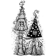 zentangle fairy houses Fairy house - a magical house of mushrooms, looks fantastic coloured . Tangle Doodle, Tangle Art, Doodles Zentangles, Zentangle Patterns, Zen Doodle Patterns, Doodle Drawings, Doodle Art, Scrapbooking Photo, Lavinia Stamps