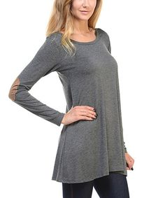 Look what I found on #zulily! Charcoal Elbow-Patch Tunic #zulilyfinds