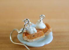 Pumpkin Pie Earrings Food Jewelry Miniature Food by mousemarket, $20.00