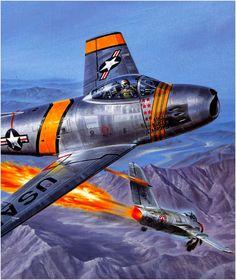North American F-86 Sabre 'Mig Mao Mavis' shooting down a Mig-15.
