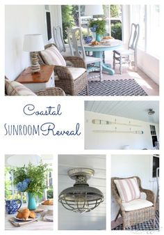 Coastal Sunroom Reveal - Due to our dog being sprayed by a skunk, we had to redo this room way before we were planning on it.  We had to rip out the rug and ref…