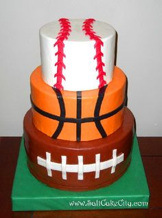 Football, Basketball and Baseball Cake...this would be cute with the bottom layer as a huge hockey puck