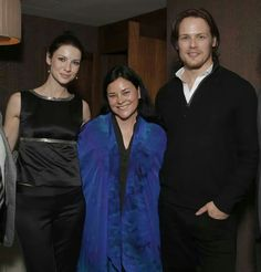 Outlander author Diana Gabaldon with the stars of the series based on her book, CaitrionaBalfe (Claire) and Sam Hueghan (Jamie).