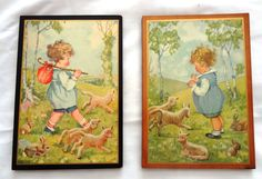 Pictures on Wood from the 1950's or before  Vintage by mammadoo, $15.00