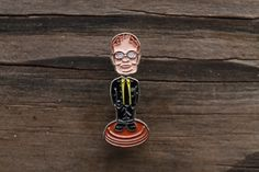 Image of Dwight Bobblehead Pin Pin And Patches, Iron On Patches, Dwight Schrute, The Fragile, Head Pins, Cute Pins, Bobble Head, Lapel Pins