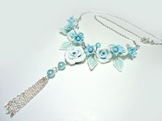 Rose necklace and earrings Wedding Jewelry set by JoliefleurDeco