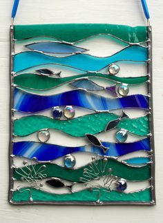 Your place to buy and sell all things handmade Stained Glass Designs, Stained Glass Panels, Stained Glass Projects, Stained Glass Patterns, Stained Glass Art, Shoal Of Fish, Sea Theme, Suncatchers, Wall Colors