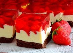 cake preparation with milk cream and strawberry jelly Cake Preparation, Romanian Food, Sweets Cake, Nutella, Homemade Cakes, Mini Cakes, Cake Cookies, Cheesecake, Dessert Recipes