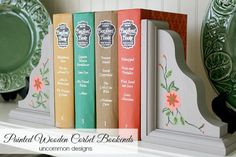 painted wooden corbel book ends