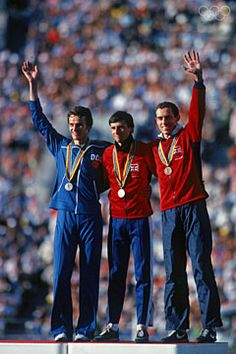 Jurgen Straub, Sebastian Coe and Steve Ovett on the podium at the 1980 Olympics (Getty Images) Olympic Icons, Olympic Medals, Olympic Games, Lake Placid Olympics, Sebastian Coe, 1984 Summer Olympics, World Athletics, Artistic Gymnastics, Olympic Athletes