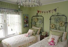 Love the old fence gate for a headboard