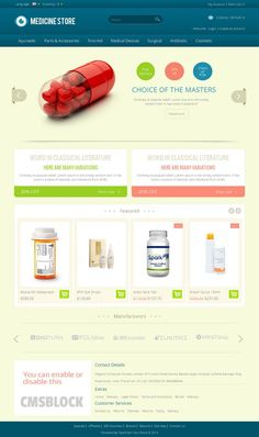 Medicine OpenCart Template is specially medicine, drug and health store. Great colors combination. All sub pages are customized. It is very nice with its clean and professional look.