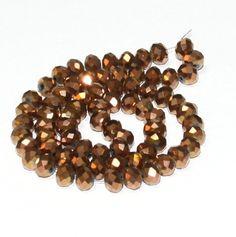 10 x perle electroplate Marron 8x6mm, en Verre, Forme ovale a facette -- PVE-0020.5 : Perles en Verre par crehando