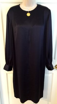 Liz Claiborne Dress SZ 10 Solid Navy Blue Satin L/S Lined Versatile Shift Dress  | eBay