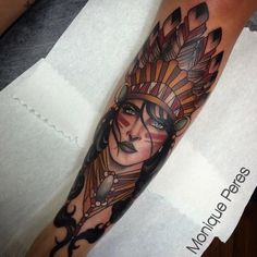 native woman, neo traditional tattoo Monique Peres