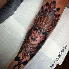 native woman, neo traditional tattoo Monique Peres