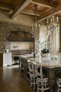 Get inspired by awesome photos about tuscan style homes design & house plans.decor ideas for mediteranean design house (color, furniture, etc) Tuscan Kitchen, Grand Kitchen, French Country Kitchen, Luxury Kitchens, Mediterranean Home Decor, Best Kitchen Designs, Rustic Kitchen, Ornate Kitchen, Luxury Kitchen Design