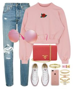 """""""Pink Crush"""" by smartbuyglasses ❤ liked on Polyvore featuring Levi's, Prada, Converse, Ray-Ban, Jennifer Meyer Jewelry, Belkin, Accessorize, Yves Saint Laurent, Pink and rayban"""