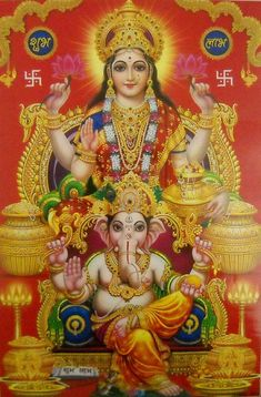 Lakshmi and Ganesha Shiva Parvati Images, Shiva Hindu, Durga Images, Lakshmi Images, Hindu Deities, Hindu Art, Krishna, Saraswati Goddess, Kali Goddess