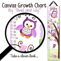 Canvas GROWTH CHART Purple Owl Girls Bedroom Baby by ToadAndLily, $40.00