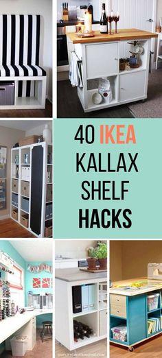 Ikea Shelf Hack, Ikea Kallax Shelf, Ikea Kallax Hack, Ikea Desk, Ikea Shelves, Diy Shelving, Diy Storage Desk, Craft Room Storage, Desk Hacks