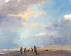 Seascape winter 12 Towards the light - horses running available zeegezicht met paarden, painting by artist Roos Schuring